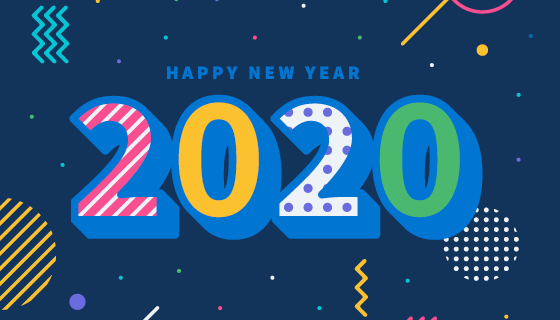 扁平立体风格2020新年快乐背景矢量素材(AI/EPS)
