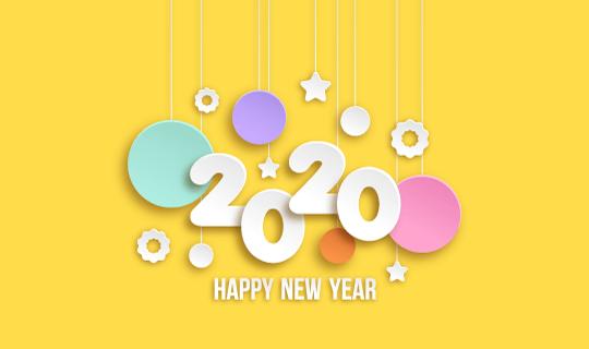 黄色卡通2020新年快乐背景矢量素材(AI/EPS)