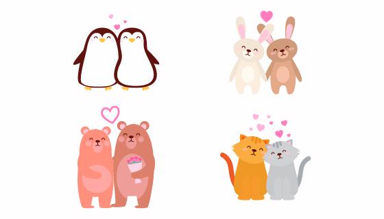 可爱的动物情侣情人节矢量素材(AI/EPS/PNG)