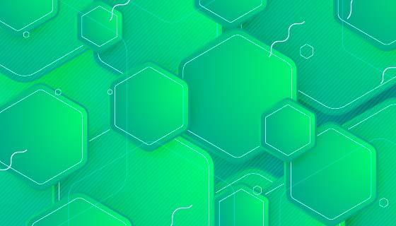 抽象绿色六边形图案背景矢量素材(AI/EPS)