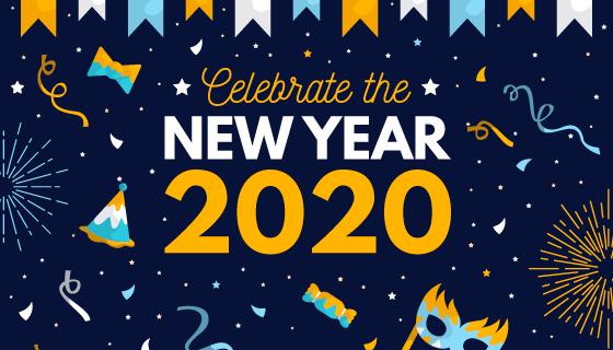 创意扁平风格2020新年快乐背景矢量素材(AI/EPS)