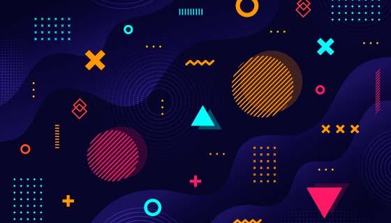 深色几何形状孟菲斯风格背景矢量素材(AI/EPS)