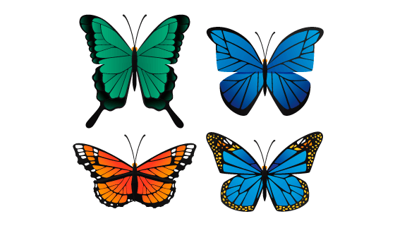 扁平风格的蝴蝶矢量素材(AI/EPS/PNG)