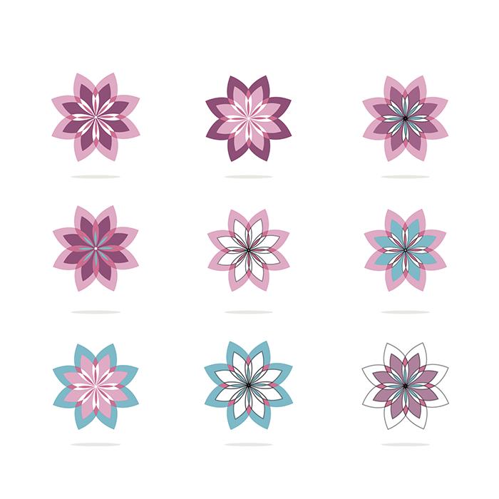 粉色花卉图标矢量素材(EPS)