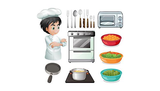厨师及厨房工具矢量素材(EPS)