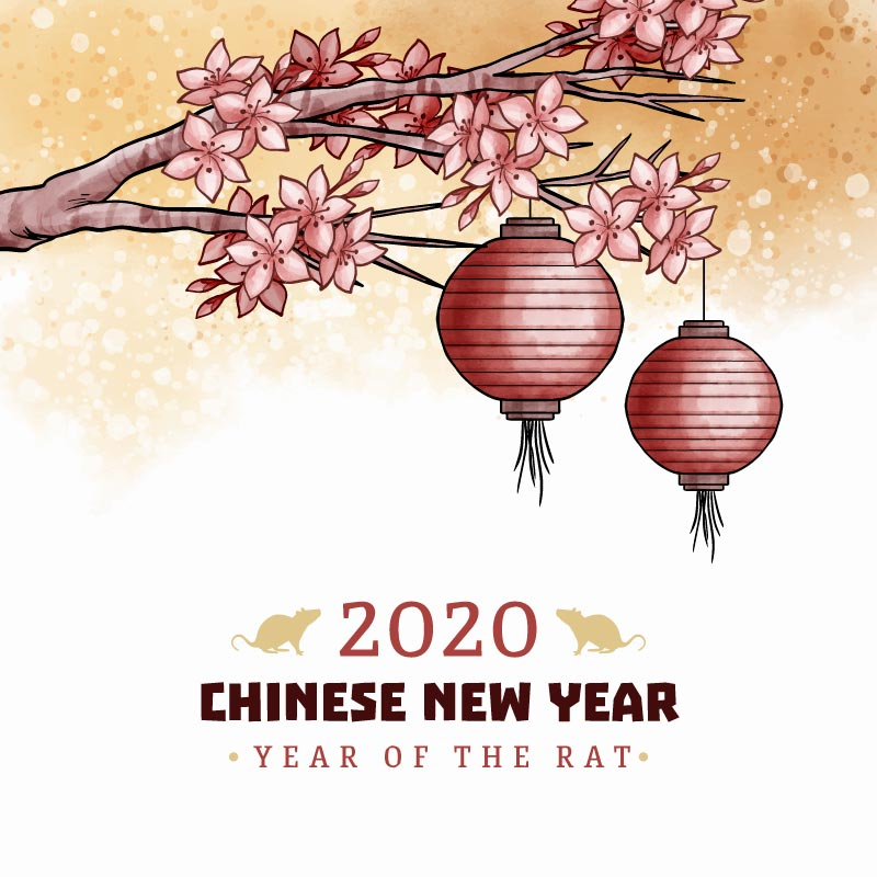 水彩梅花灯笼2020春节快乐矢量素材(AI/EPS)