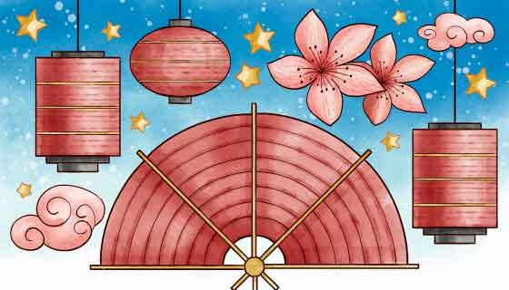水彩风格设计2020春节快乐矢量素材(AI/EPS)