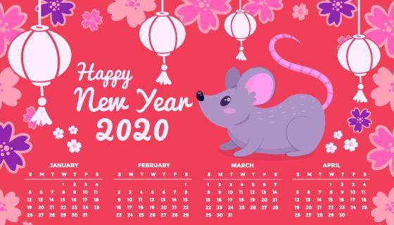 手绘老鼠2020年日历矢量素材(AI/EPS)