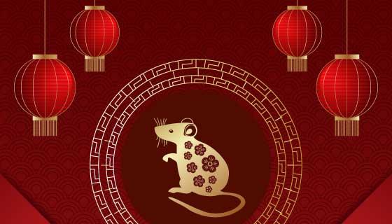 金色老鼠和灯笼2020春节快乐矢量素材(AI/EPS)