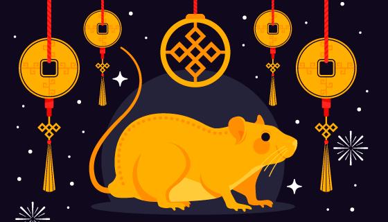 金色老鼠铜钱2020鼠年新年快乐矢量素材(AI/EPS/PNG)