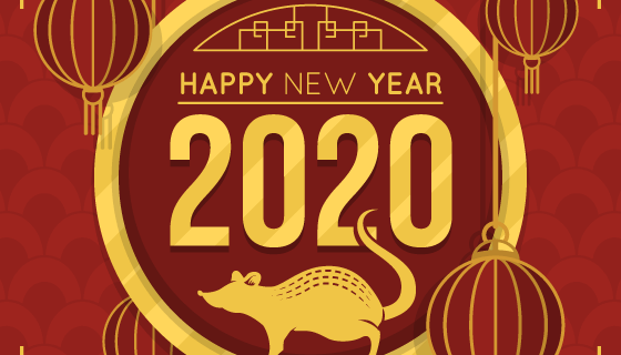 金色老鼠2020新年快乐矢量素材(AI/EPS)