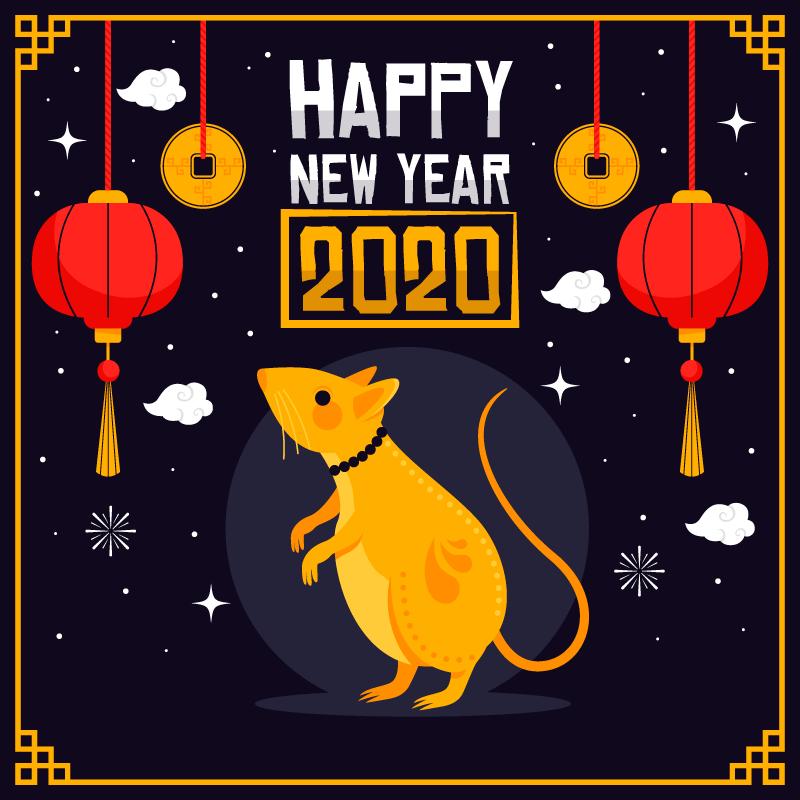 仰望灯笼的老鼠2020新年快乐矢量素材(AI/EPS)