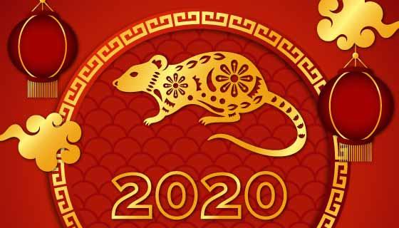 金色老鼠2020春节快乐矢量素材(AI/EPS)