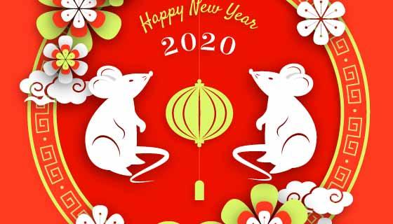 扁平小白鼠2020新年快乐矢量素材(AI/EPS)