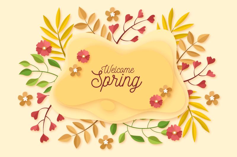 多彩叶子花朵春天背景矢量素材(AI/EPS/免扣PNG)