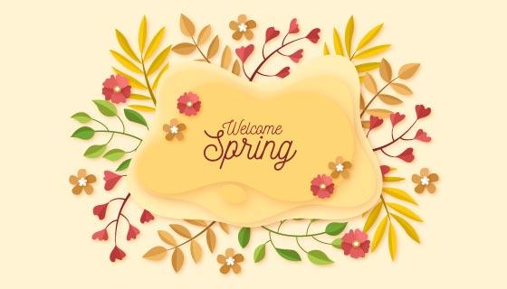 多彩叶子花朵春天背景矢量素材(AI/EPS/PNG)