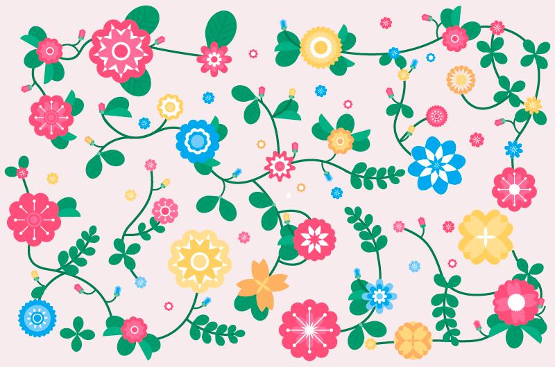 五彩缤纷的花朵春天背景矢量素材(AI/EPS/免扣PNG)