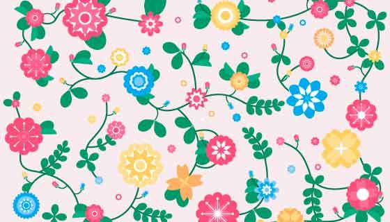 五彩缤纷的花朵春天背景矢量素材(AI/EPS/PNG)