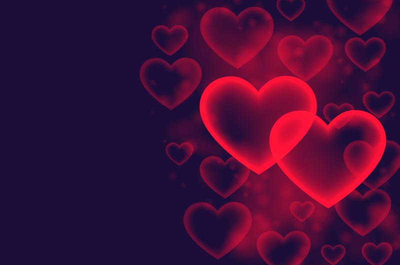 红色爱心浪漫情人节背景矢量素材(EPS)