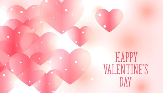 美丽柔和的粉红色爱心情人节背景矢量素材(EPS)
