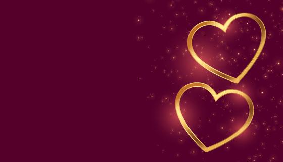 两颗金色爱心情人节设计矢量素材(EPS)