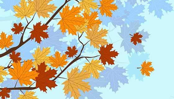 秋天落叶背景矢量素材(EPS)