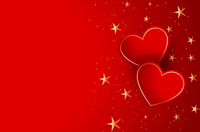 两颗红色爱心情人节设计矢量素材(EPS)