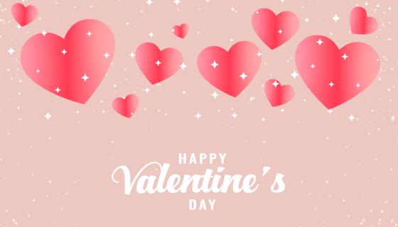 创意粉红色爱心情人节背景矢量素材(EPS)