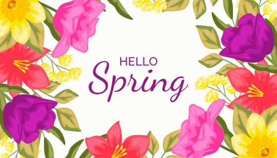 多彩花卉春天背景矢量素材(AI/EPS/PNG)