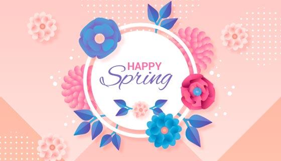 漂亮花卉春天背景矢量素材(AI/EPS)