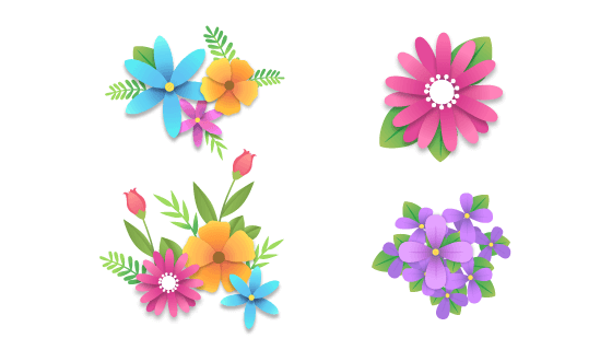 扁平渐变的漂亮花朵矢量素材(AI/EPS/PNG)