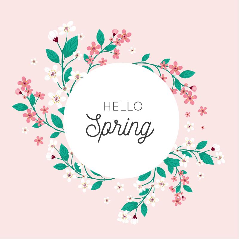 漂亮的春季花卉框架矢量素材(AI/EPS/免扣PNG)