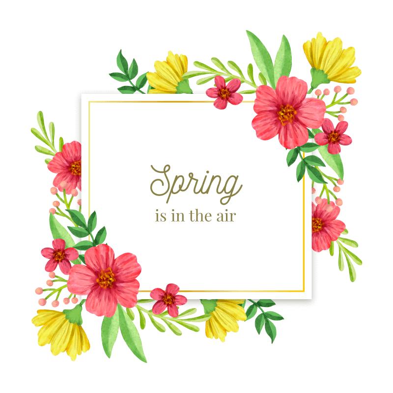 漂亮的水彩春季花卉框架矢量素材(AI/EPS/免扣PNG)
