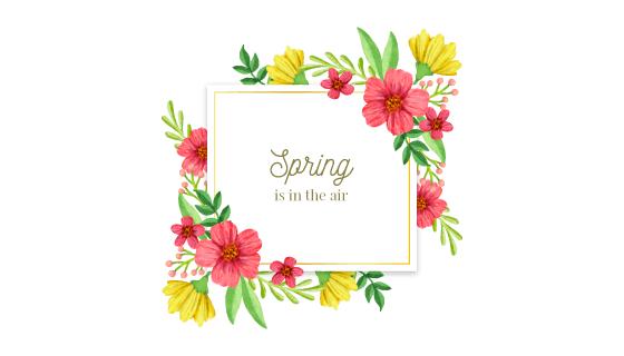 漂亮的水彩春季花卉框架矢量素材(AI/EPS/PNG)