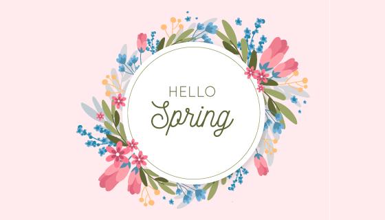 漂亮的春季花卉框架矢量素材(AI/EPS/PNG)