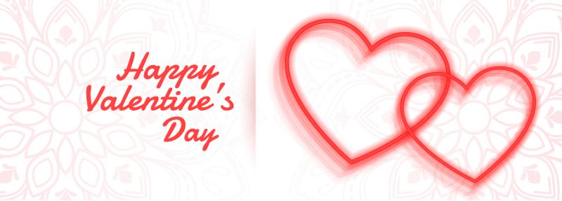 两颗红色爱心情人节快乐banner矢量素材(EPS)
