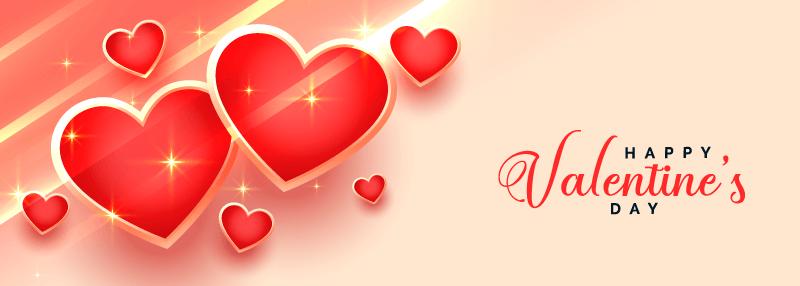 闪亮的红色爱心情人节快乐banner矢量素材(EPS)