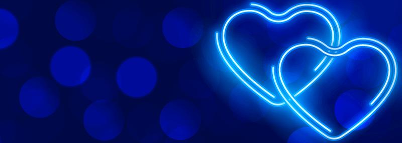 蓝色荧光爱心情人节快乐banner矢量素材(EPS)