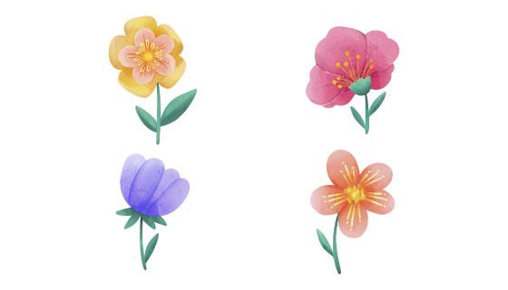水彩风格春天花卉矢量素材(AI/EPS/PNG)