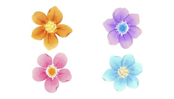 水彩风格花朵矢量素材(AI/EPS/PNG)