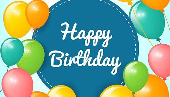 生日快乐气球背景矢量素材(EPS/AI)