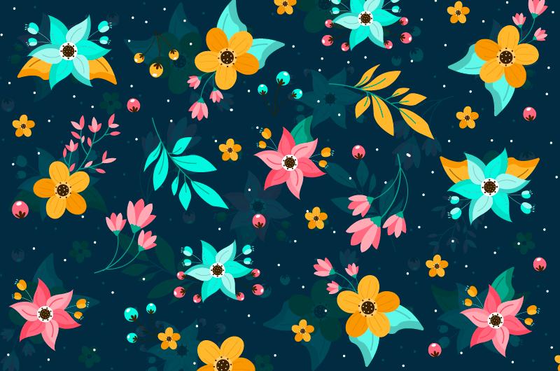 多彩小碎花印花背景矢量素材(AI/EPS)