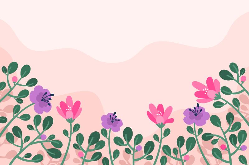 扁平花卉设计春天背景矢量素材(AI/EPS)