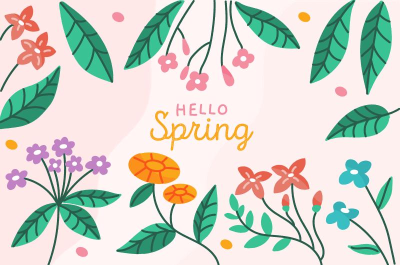 手绘叶子花朵春天背景矢量素材(AI/EPS/免扣PNG)