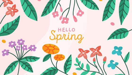 手绘叶子花朵春天背景矢量素材(AI/EPS/PNG)