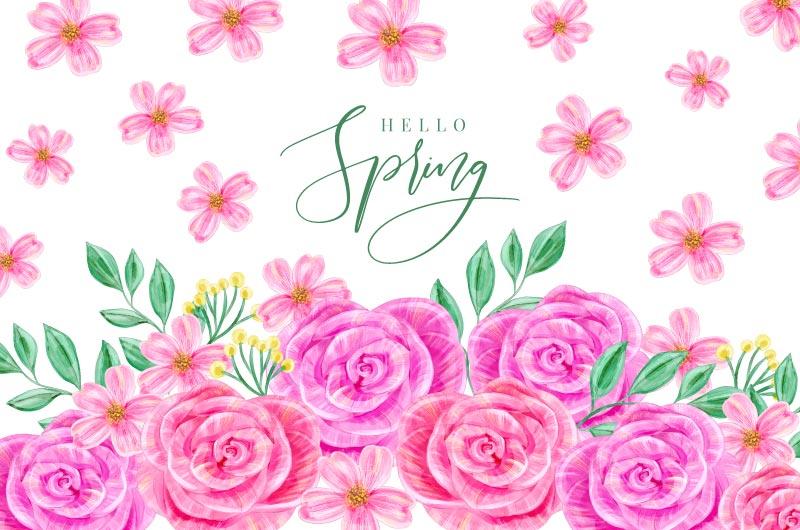 水彩风格漂亮花卉春天背景矢量素材(AI/EPS)