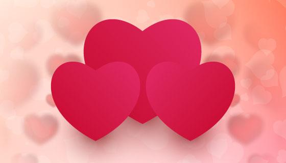 三颗红色爱心情人节背景矢量素材(EPS)