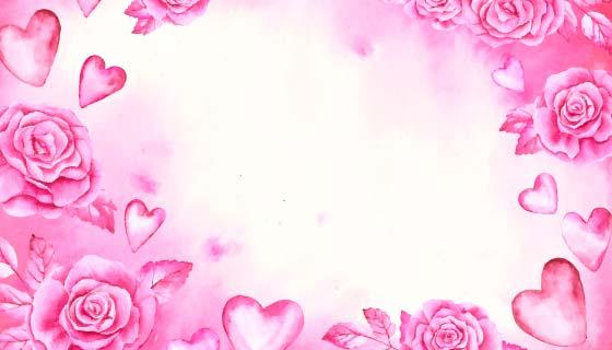 水彩爱心玫瑰花情人节背景矢量素材(AI/EPS)