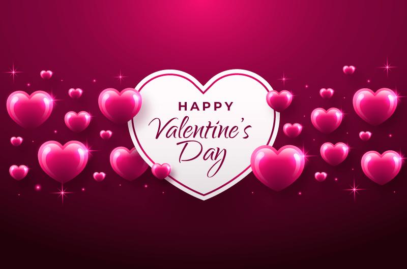 粉色闪亮爱心情人节背景矢量素材(AI/EPS)