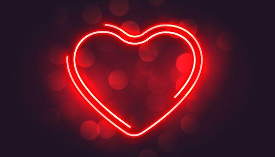 可爱的霓虹红心情人节背景矢量素材(EPS)
